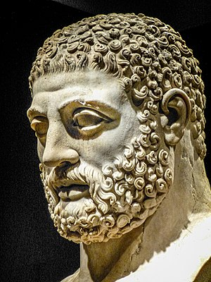 Head from statue of Herakles (Hercules) Roman 117-188 CE from villa of the emperor Hadrian at Tivoli, Italy BM 2.jpg