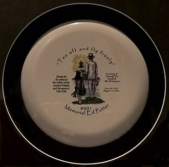 Frisbee - A memorial disc containing some of the ashes of Ed Headrick, on display at Ripley's Believe it or Not!, London
