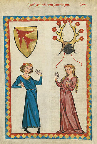 Strättligen - The minnesinger Heinrich von Stretlingin in Codex Manesse (fol. 70v), depicted with the arms of the von Strättligen family