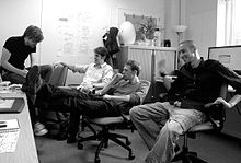The staff of Hello Games in their Guildford office. From left: David Ream, Sean Murray, Grant Duncan, Ryan Doyle.