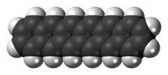 Space-filling-stick model of the hexacene molecule