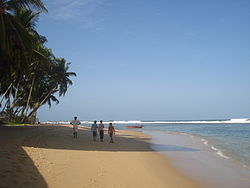 The beach at Hikkaduwa, photographed in July 2010