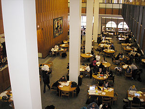 Hillman Library - Study area inside Hillman Library.  A pair of Virgil Cantini tapestries can be seen hanging on the wall to the left.