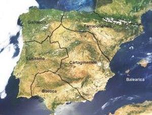 Lusitania - Roman Hispania under Diocletian (AD 293); Lusitania found in the extreme west