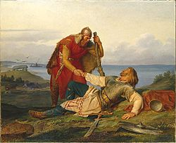 Orvar-Odd and Hjalmar bid each other farewell, by Mårten Eskil Winge (1866).