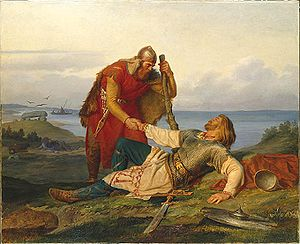 Blood brother - The Norwegian warrior Örvar-Oddr bids a last farewell to his blood brother, the Swedish warrior Hjalmar, by Mårten Eskil Winge (1866).