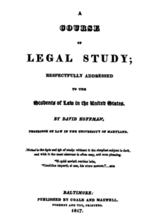 Hoffmans <i>Course of Legal Study</i> Nineteenth-century legal textbook