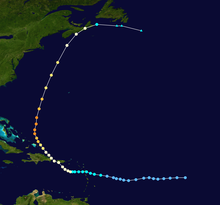 Storm path of hurricane forming the shape of a C in the western Atlantic Ocean.