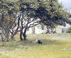 Høns under træer ved Madam Bendsens gård