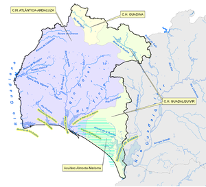 Odiel - Hydrographic map of the province of Huelva. The Odiel is somewhat left of center, running roughly north-south.