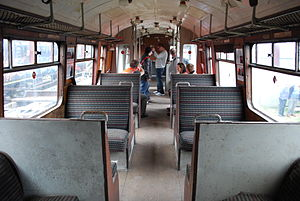 The interior of DMBS car 28690 at the Electric Railway Museum, Coventry.