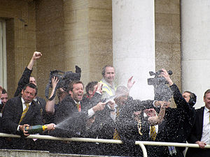 Hull City A.F.C. - Phil Brown and players celebrate on promotion to the Premier League in 2008