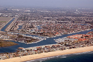 Huntington Harbour, Huntington Beach, California - Huntington Harbour from the air with Sunset Beach in foreground.