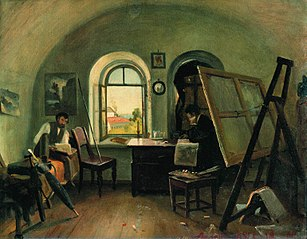 I. I. Shishkin and A. V. Gine in the Studio on the Valaam Island