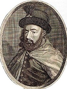 Drawing of bearded man wearing an ornate hat