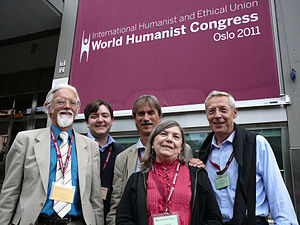 Andrew Copson - Copson (second left) at the 2011 IHEU World Humanist Congress.