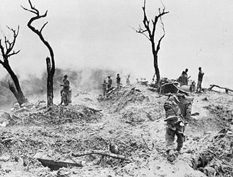 Burma Campaign - The scene on Scraggy Hill, captured by the 10th Gurkhas during the Battle of Imphal