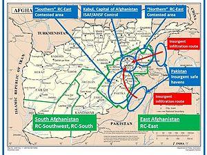 Haqqani network - Image: ISAF image Insurgent Routes