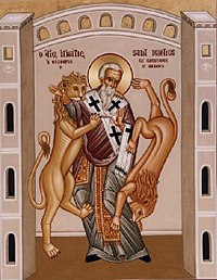 Icon of St. Ignatius of Antioch (†107) being eaten by lions.