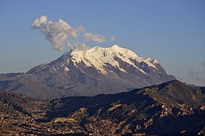 La Paz - The Illimani mountain seen from La Paz