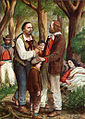 In the pine woods of Ravenna, Garibaldi places his dying wife Anita under the trees.jpg