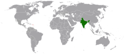 Map indicating locations of India and Saint Kitts and Nevis