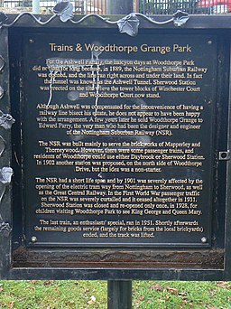 Information board by the Train Sculpture in Woodthorpe Grange Park - geograph.org.uk - 1198270