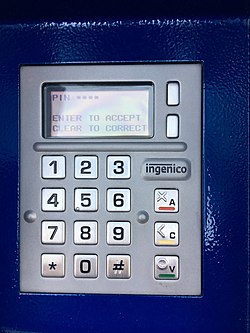 Ingenico payment terminal taken on Sat 8 Feb 1521, at Warwick Parkway rail station ticket machine.jpg