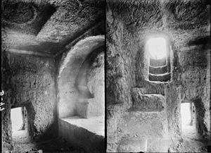 Absalom - Two views of the burial chamber inside the so-called Tomb of Absalom in the Valley of Jehoshaphat, Jerusalem, which has no connection to biblical Absalom.