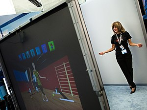 Virtual dressing room - An Intel labs researcher demonstrating an augmented reality dressing room