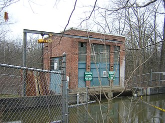 Thornapple River - Irving Dam headhouse from parking lot