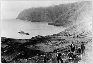 Juan Fernández Islands - Robinson Crusoe Island, as seen in the late 19th or early 20th century.  The ship in Cumberland Bay is the cruiser Esmeralda
