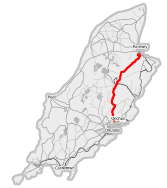 Snaefell mountain road - Image: Isle of Man A18 road (Open Street Map)