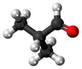 Ball-and-stick model of the isobutyraldehyde molecule