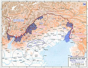 Mountain warfare - Italian Front in 1915–1917: eleven Battles of the Isonzo and Asiago offensive. In blue, initial Italian conquests.