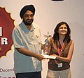 """J.P. Singh presented the second prize for the best short film to Ms. Geetika Narang for her film """"GOOD NIGHT"""", during the 39th International Film Festival (IFFI-2008), in Panaji, Goa on December 01, 2008.jpg"""