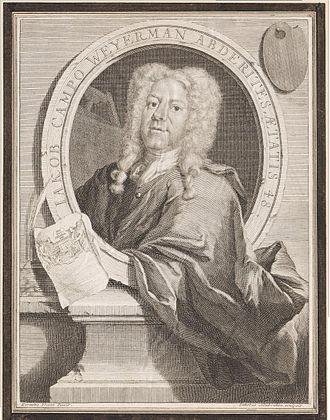 Jacob Campo Weyerman - Jacob Campo Weyerman aged 48, engraving by Jacobus Houbraken.