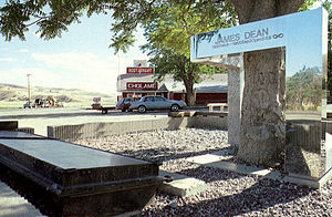 Death of James Dean - James Dean Memorial in Cholame. Dean died approximately one mile east of this tree.