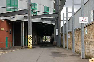 Celtic Park - This picture shows the overhang of the North Stand over Janefield Street.