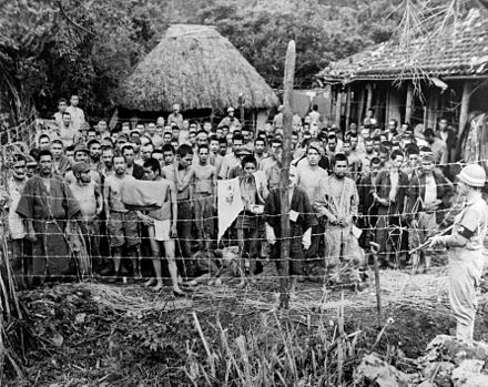 A group of Japanese prisoners taken on the island of Okuku in June 1945 Japanese POWs, Okinawa cph.3c32796.jpg