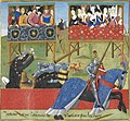 Jean de Saintré jousts with Enguerrant - The Romance of Jean de Saintré (c.1470), f.40 - BL Cotton MS Nero D IX.jpg