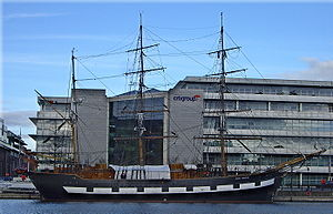 Jeanie Johnston moored off Custom House Quay, Dublin