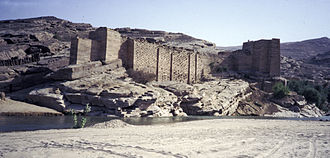 Sabaeans - Ruins of the historical dam of the former Sabaean capital of Ma'rib, amidst the Sarawat Mountains of present-day Yemen