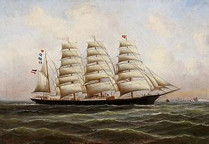 Code letters - The barque ''Pisagua''. Her Code letters RJPT are flown on the jigger mast, above her ensign