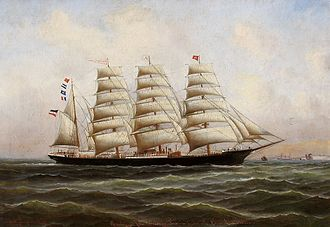 Code letters - The barque Pisagua. Her Code letters RJPT are flown on the jigger mast, above her ensign