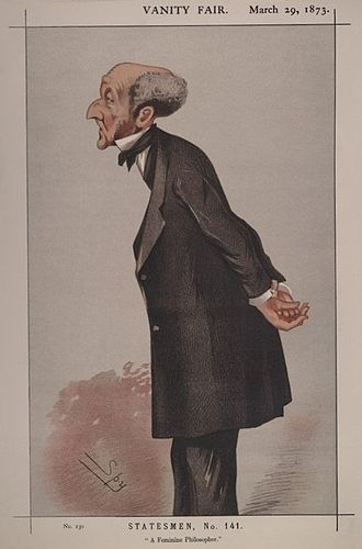 "John Stuart Mill - ""A Feminine Philosopher"". Caricature by Spy published in Vanity Fair in 1873."
