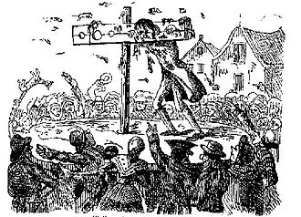 Pillory - Eighteenth-century illustration of perjurer John Waller pilloried and pelted to death in London, 1732