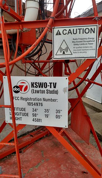 KSWO-TV - An image of the tower information; this is the tower used to send the signal to their main transmitter in Grandfield, Oklahoma.