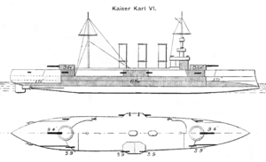 SMS Kaiser Karl VI - Line-drawing of Kaiser Karl VI showing the disposition of the armament and armor
