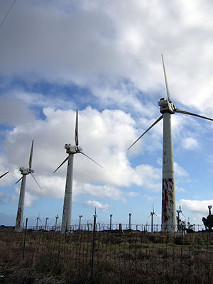 Blade pitch - Decommissioned wind turbines of the Kama'oa Wind Farm in Ka Lae/South Point, Hawaii awaiting removal, with rotors stopped and blades feathered.